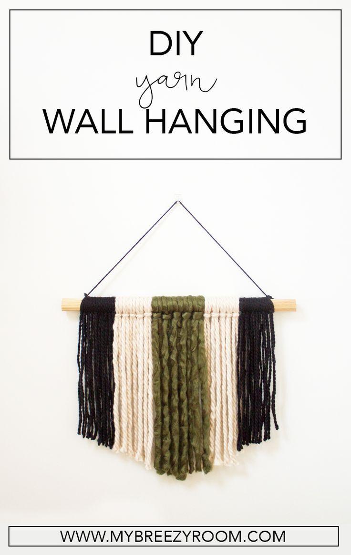 Modern DIY Yarn Wall Hanging: Super Simple Wall Art #modernwallart #WallHanging  #walldecor #moderndiy
