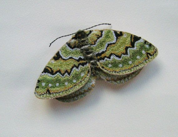 Embroidered moth brooch, Green Carpet, textile art, soft sculpture, insect, cottage chic.