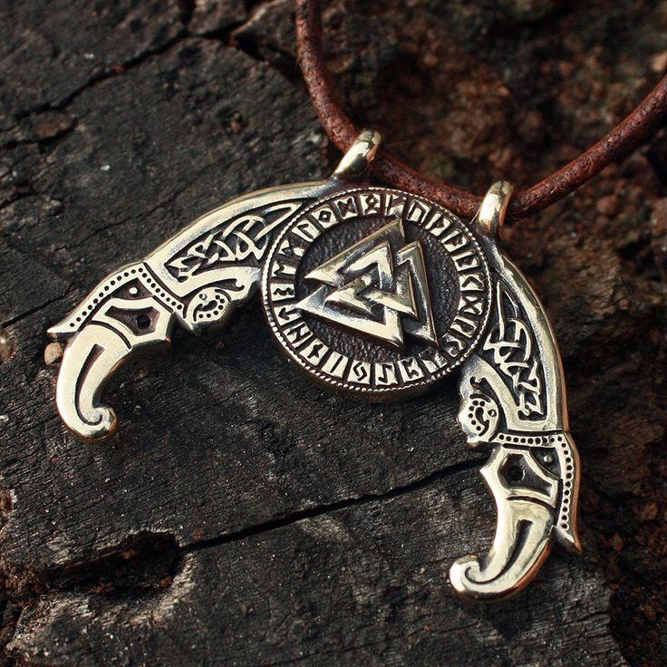 Bronze Valknut Futhark Odin Triple Horn Triskele Ravens Huggin Munnin Vikings Nordic Pendant Necklace by MAGICrebEL on Etsy https://www.etsy.com/listing/212742916/bronze-valknut-futhark-odin-triple-horn