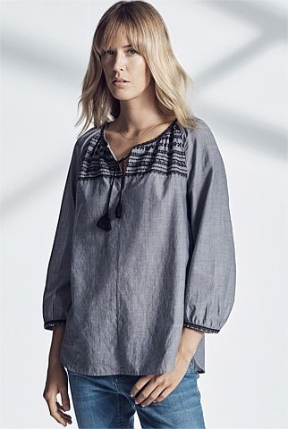Peasant Embroidered Blouse - From Trenery