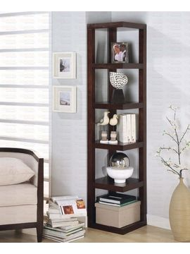 """BOOKCASE CAPPUCCINO/F 15-1/2""""x15-1/2""""x74-3/4""""H $239.95 www.affordableportables.net"""