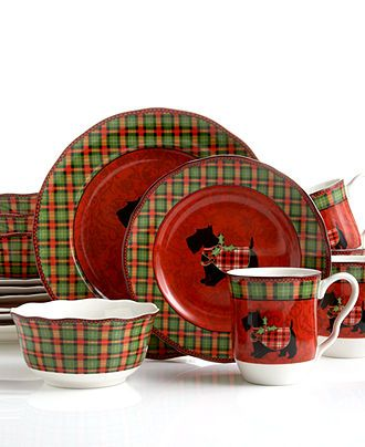 222 Fifth Dinnerware, Christmas Scotty 16 Piece Set - Holiday Dinnerware - Holiday Lane - Macy's