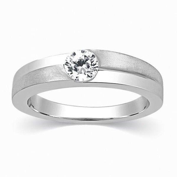 Designer Solitaire Platinum Engagement Ring for Men Sj Pto 315 ($1,059) ❤ liked…