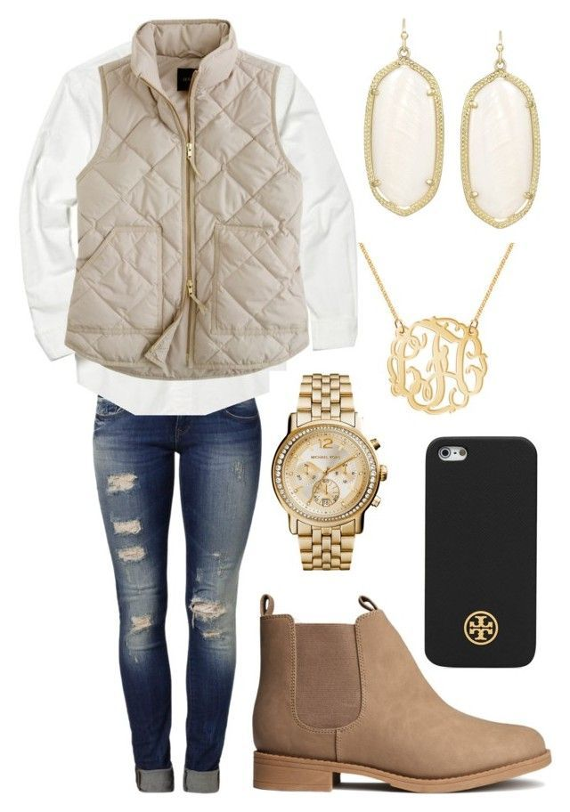 """gold and white is love"" by maryesterrr ❤️ liked on Polyvore featuring Mavi, Polo Ralph Lauren, J.Crew, H&M, Kendra Scott, MICHAEL Michael Kors and Tory Burch"
