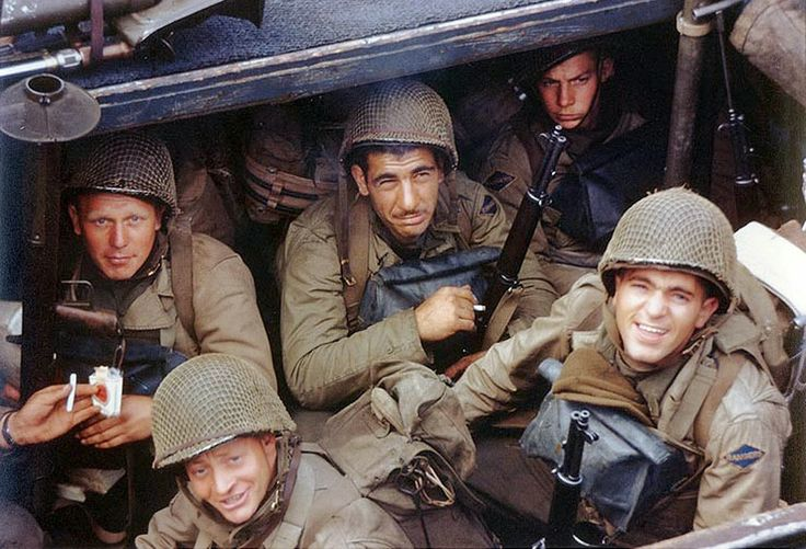 World War II Pictures In Details: Color Picture US Rangers Aboard their Landing Craft Before Normandy Invasion
