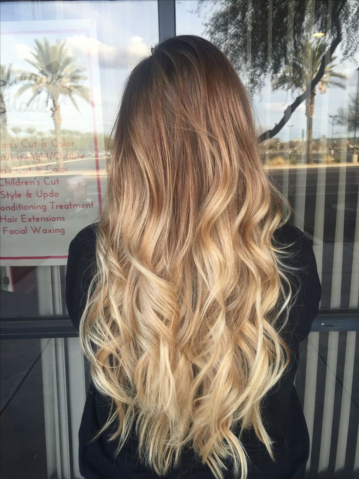 Long blonde balayage hair