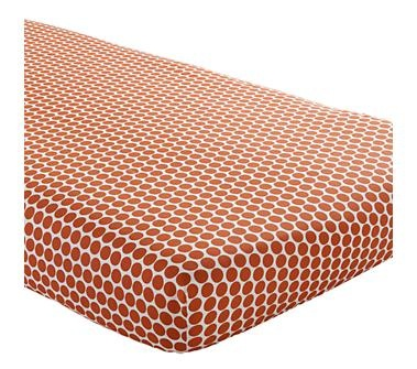 Baby Sheets: Orange Dotted Fitted Crib Sheet