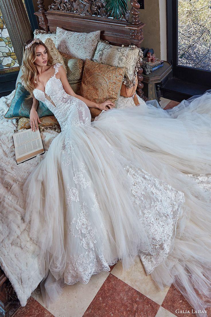 galia lahav bridal spring 2017 cap sleeves split sweetheart lace mermaid wedding dress (rihanna) zv long train