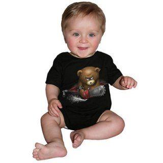 Body bébé gothique noir à ours psychopath avec tronçonneuse