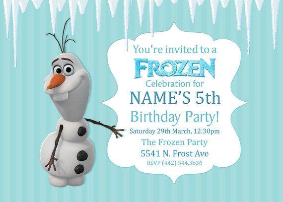 Frozen Olaf Birthday Party Invitation Kids Birthday Custom ...