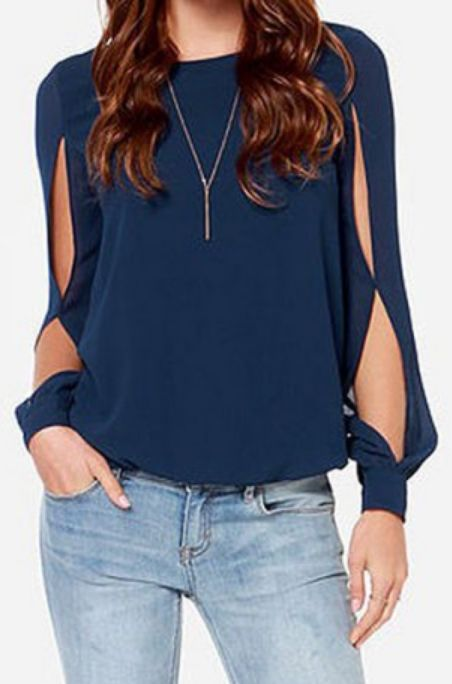 long sleeve hollow out blouse