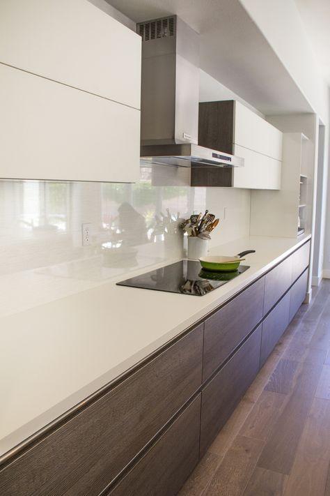 Simi Valley Project | Bauformat | Germany Kitchen Cabinet | Bali 125 Rift Anthracite Oak | Murano 803 Glass | Countertop Dekton - Ariane White