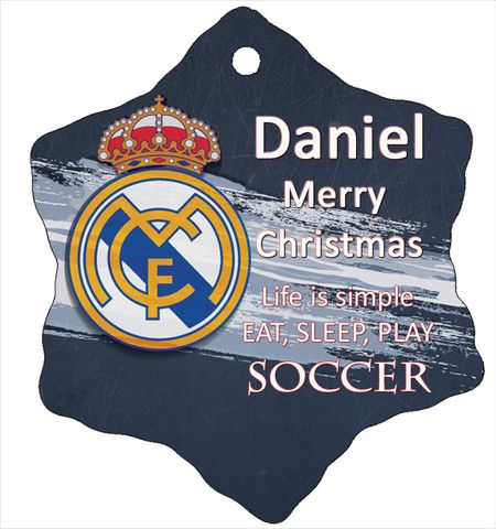 Personalised Christmas Tree Ornament, Soccer Real Madrid