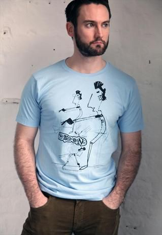 £15.00-Bang Bang And Scribble Blue hipster cartoon print T-shirt