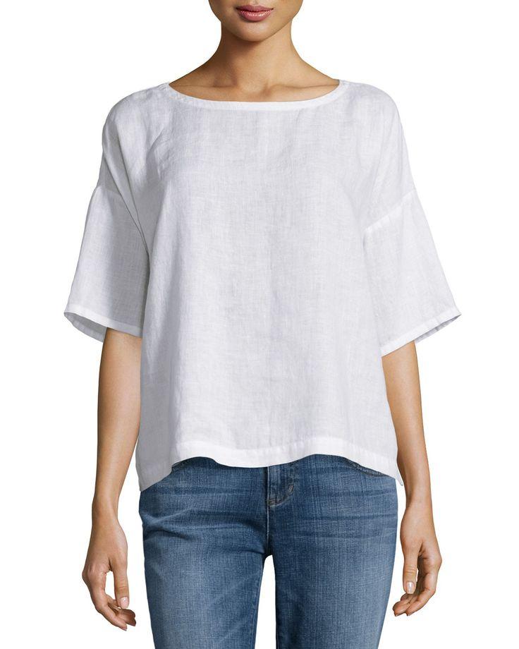 Linen top, Washed linen t shirt, Blue summer top, V neck top for women, Short sleeve women's shirt, Linen t shirt, Loose fit blouse