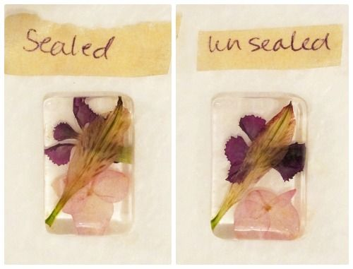 sealed and unsealed flowers in resin