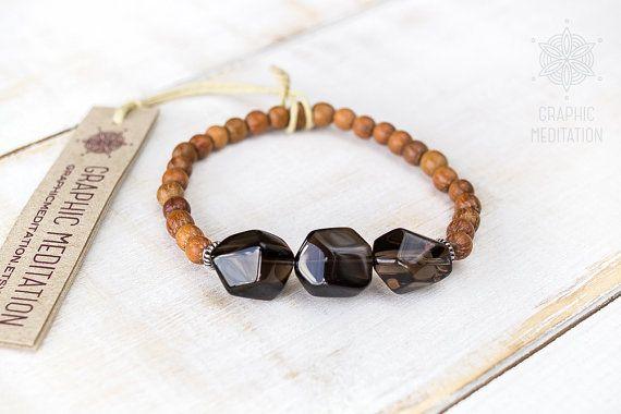 Smoky quartz bracelet wood and silver Smokey by GraphicMeditation