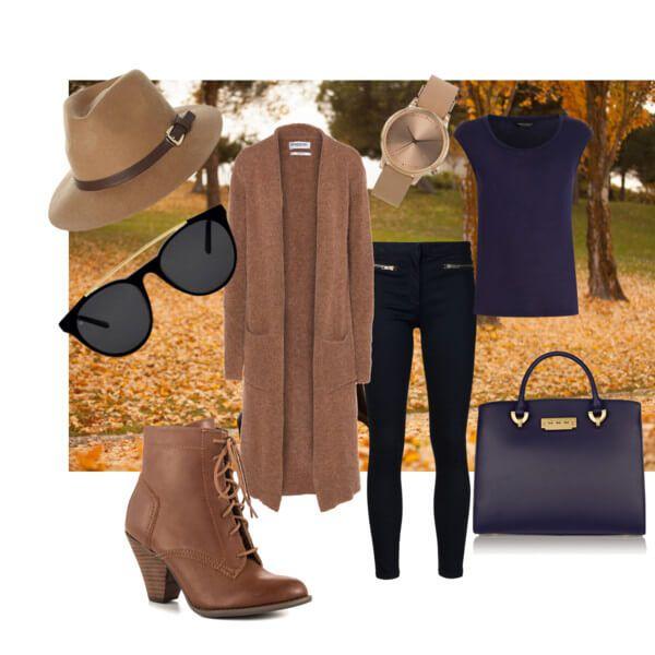 Кардиган, шляпа-федора, синяя сумка, бежевые ботинки, синий топ, темные джинсы