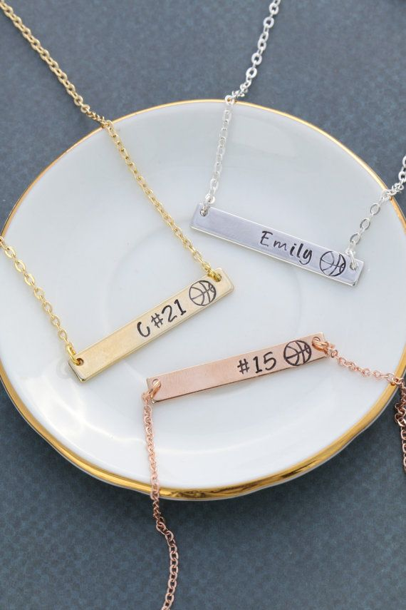 Girls Basketball Team Necklace • Womens Basketball Player Gifts • Basketball Necklaces • Stamped Team Gifts • Basketball Coach Gift•Gold Bar Basketball team necklaces in gold, silver, or rose gold plated bar style, with name, initial, number - personalization of your choice, as a basketball player gift by DistinctlyIvy on Etsy. We can personalize these with names, numbers, team name - any combination you can think of! We also have a soccer ball, volleyball, or track shoe stamp if you have…