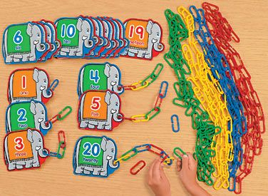counting with links (Can easily make your own elephant cards)