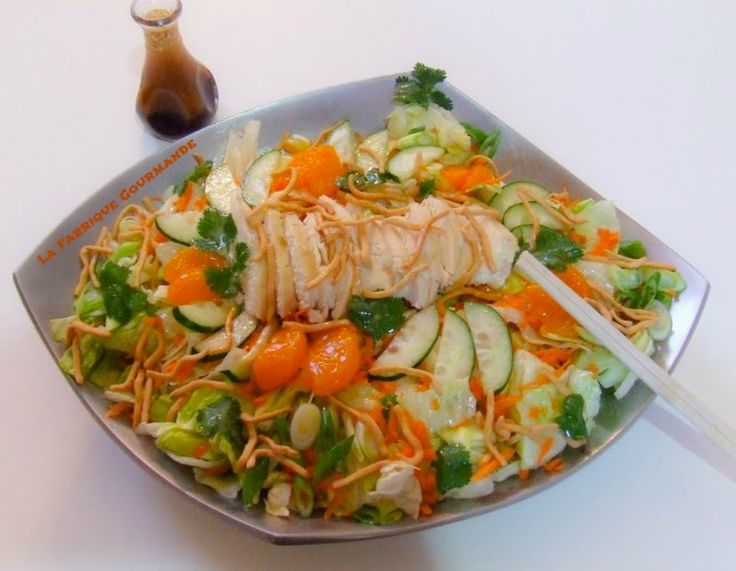 La Fabrique Gourmande: Asian Chicken Salad ou Salade Asiatique au Poulet Vinaigrette au Gingembre et Sésame