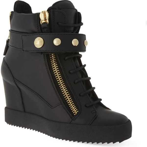 GIUSEPPE ZANOTTI Studded band wedge high-top trainers ($1,030) ❤ liked on Polyvore featuring shoes, sneakers, black, leather sneakers, studded wedge sneakers, black hi top sneakers, wedges shoes and black high top sneakers