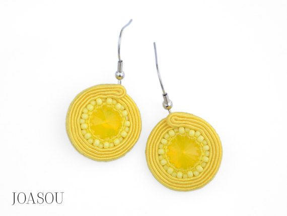 Yellow fabric earrings, yellow dangle earrings, spring summer trends, statement earrings spring, soutache earrings, embroidered earrings