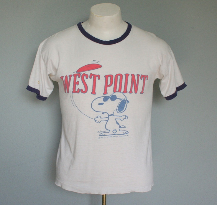 west point shirt with snoopy (as joe cool wearing sunglasses) playing frisbee