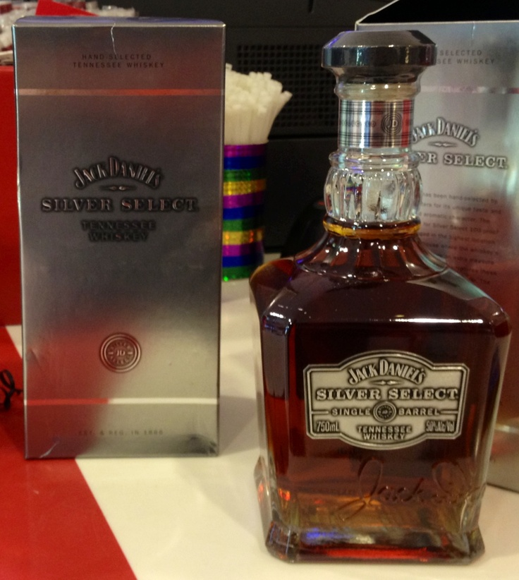 Jack Daniels Silver Select Single Barrel whiskey. 50% alc/100 proof. Only available at international duty free shops. Said to be more representative of pre-prohibition Jack Daniels whiskey.  (Regular Single Barrel sold in US is bottled at 47% alc/94 proof)