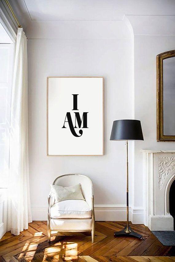 Je suis, affiche imprimable, typographie impression, Photographie noir et blanc, typographie Wall Art, source d'inspiration, décoration à la maison, décoration, Art numérique  Cette impression est parfaite pour un appartement, mur de la Galerie, espace de bureau à la maison, dortoir, salle ou dessus de table !  Art imprimable - il sagit dune impression numérique, prête pour le téléchargement immédiat.  Imprimez instantanément sur votre ordinateur, ou apportez-le à votre magasin local…