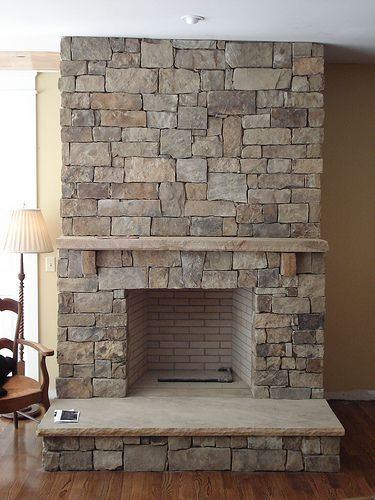 Stone Mantle Flagstone Hearth Fireplace Pinterest