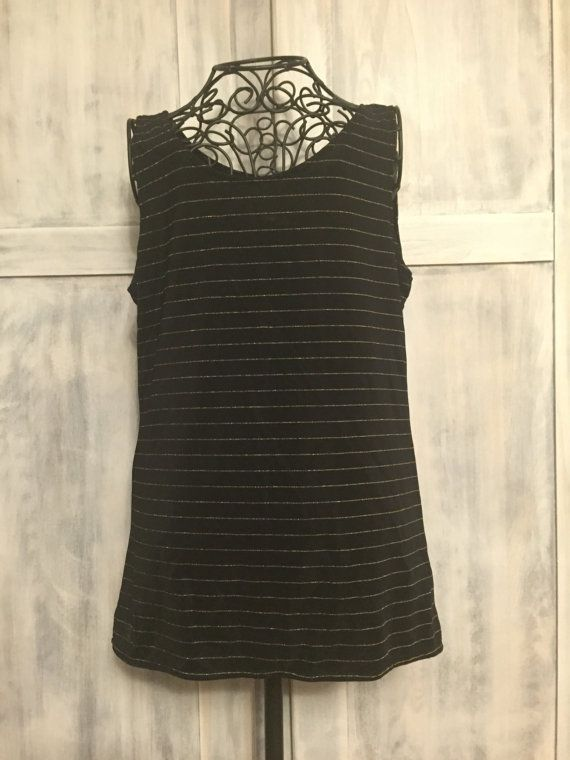 Black and Gold Stripped Tank Top by VintageNerdBoutique on Etsy