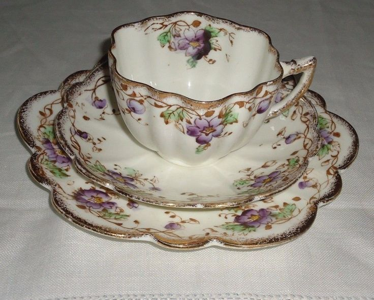 Mayer Sherratt Melba UK Antique China Trio CUP Saucer Plate Violets