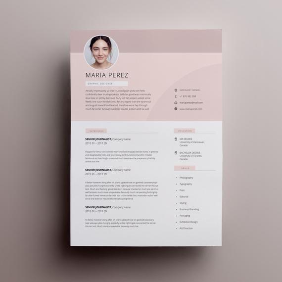 Modern Resume Design Resume Template Word Cv Template Word Cv
