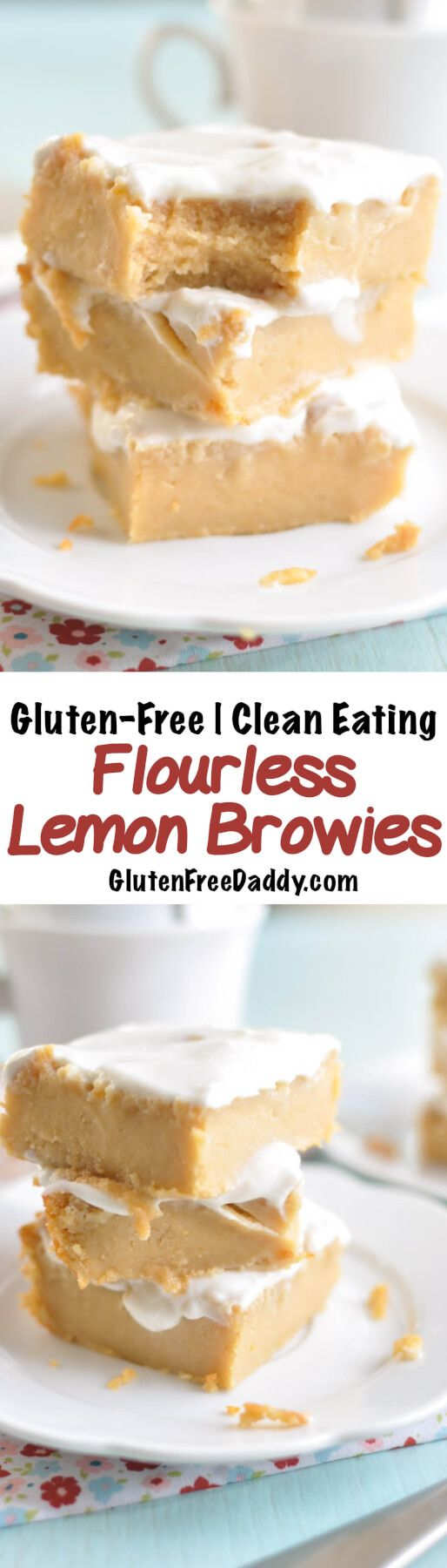These flourless lemon brownies are rich, decadent, and delicious. They are also made without any flour or refined sugar and are gluten-free and Clean Eating. I love the Greek yogurt lemon frosting!