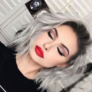 Details about Ombre Gray Bob Wig Wavy Short Bob Gray Synthetic Lace Front Wigs Party For Women