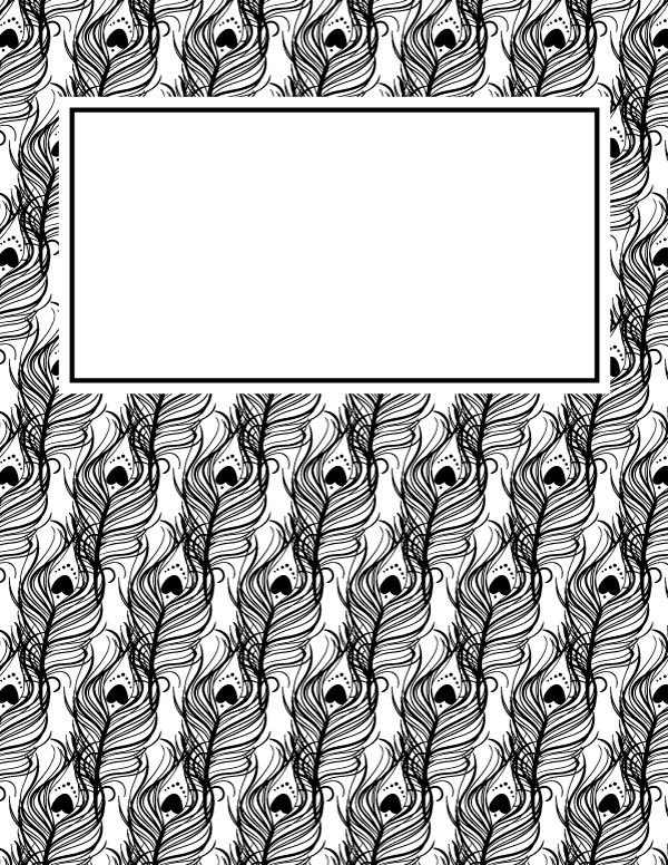 Free printable black and white peacock feather binder cover template. Download the cover in JPG or PDF format at http://bindercovers.net/download/black-and-white-peacock-feather-binder-cover/