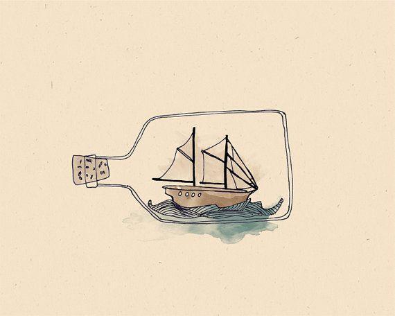 Ship in a BOTTLE Illustration Print