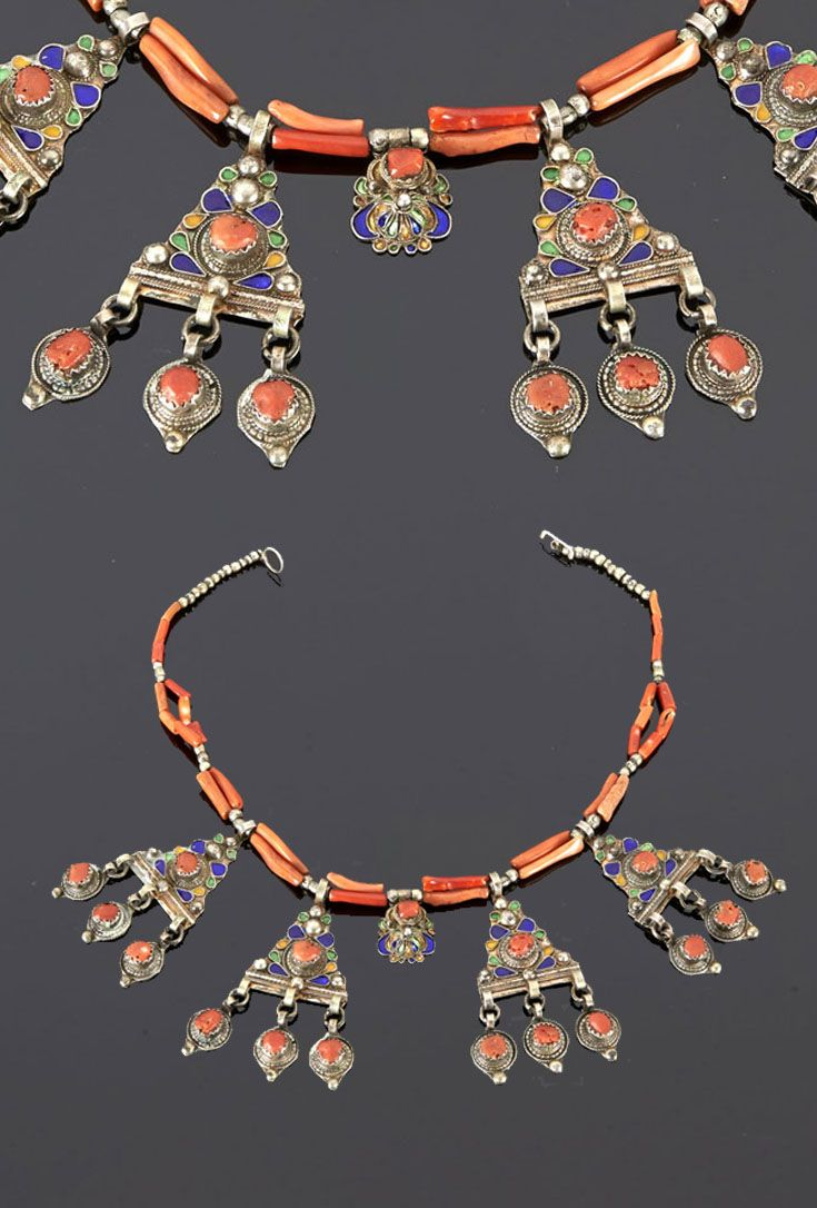 Algeria - Grand Kabylie | Necklace from the Beni Yenni people; silver, enamel and coral.  | Sold (May '15)