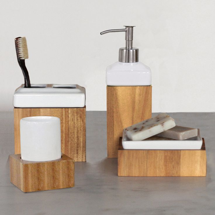 Its all in the details, and this bathroom accessory set is a great way to keep a modern feel simply through decorations.    #modern #bathroom