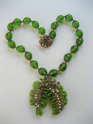 Vintage 1930s Miriam Haskell Signed Necklace Large Green glass & RS Pristine