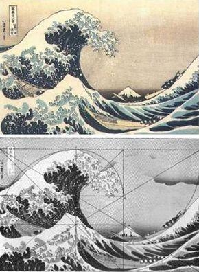 """The Great Wave off Kanagawa,"" by Katsushika Hokusai (1760-1849)      Fibonacci Spirals"