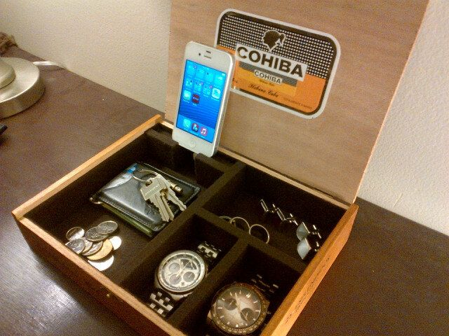 cigar box organizer valet charging station by theremak3