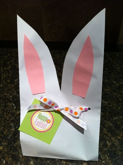 Turn plain, white paper bags into cute Easter Bunny Ear bags to give away treats and goodies this Easter! These bags are easy enough to make several if you are having an Easter party or just make a few to give away to family or friends.
