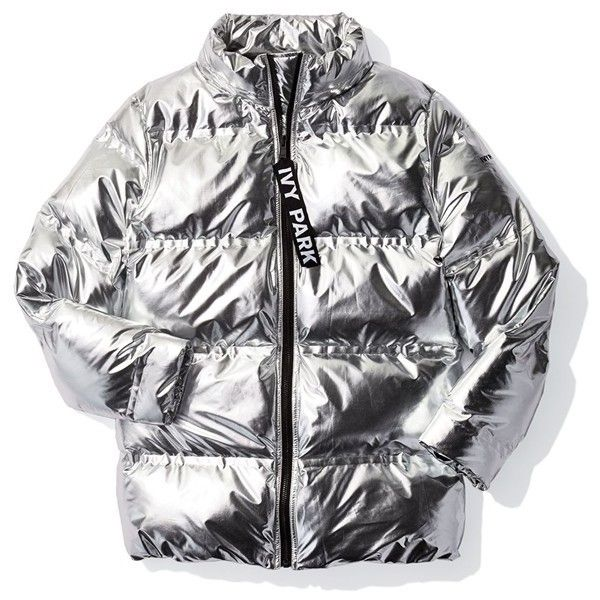 Women's Ivy Park Metallic Puffer Coat (11.870 RUB) ❤ liked on Polyvore featuring outerwear, coats, puff coat, puffer coat, metallic coat, hooded coat and puffy coat