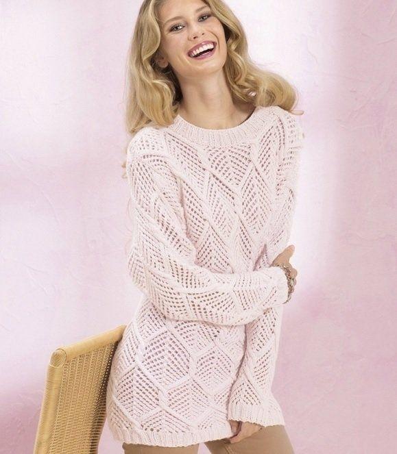 Невероятно красивый нежно-розовый пуловер с ажурными ромбами: вяжем спицами! | Dublog | Яндекс Дзен