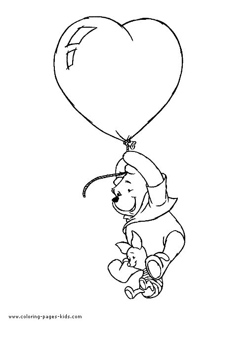 Winnie The Pooh Valentines Color Page Day Holiday Coloring Pages