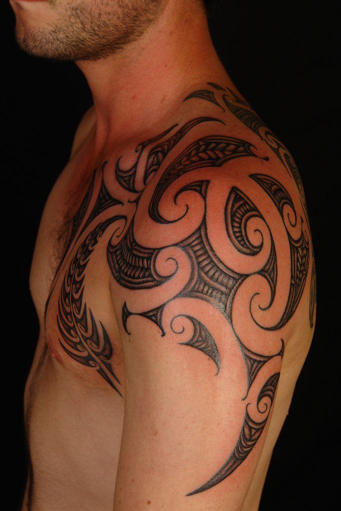 Maori Shoulder Fern Tattoo, by Shane Gallagher Coley, currently working @ Chapel Tattoo, Melbourne, Australia