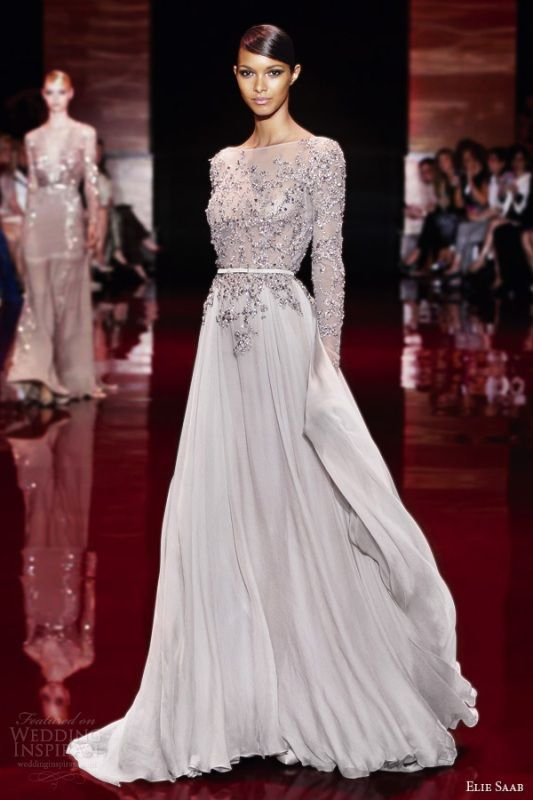 2014 New Arrival Elie Saab Chiffon Beading Applique Arabic Evening Dress With Long Sleeves $117,70