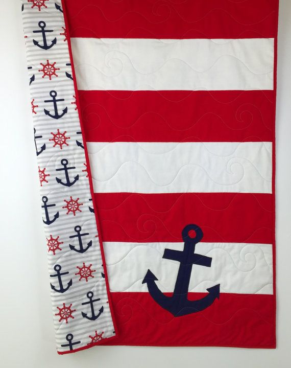 Nautical Baby Quilts, nautical crib quilt, Nautical nursery, baby nautical bedding, red and white strips nautical quilt, blue anchors.